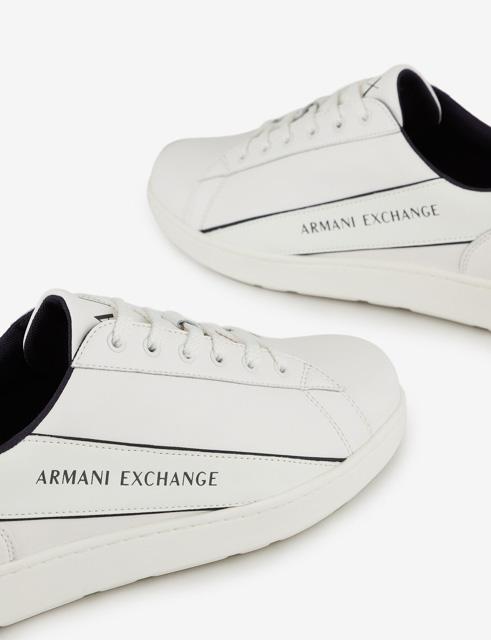 ARMANI EXCHANGE sneakers in pelle in tinta unita da uomo-3