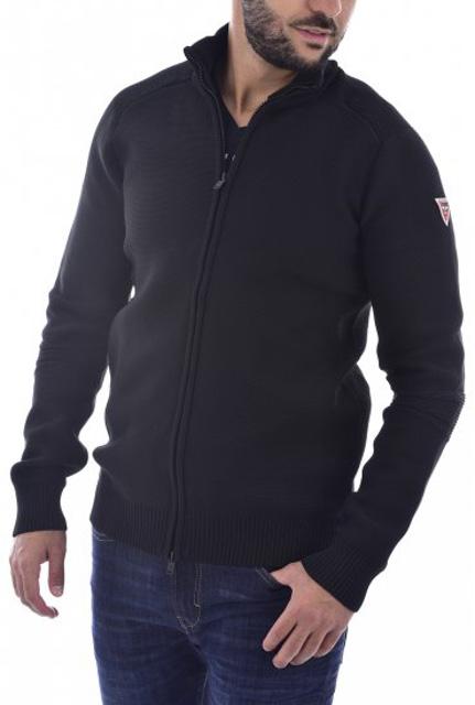 GUESS cardigan lupetto nero con zip da uomo-1