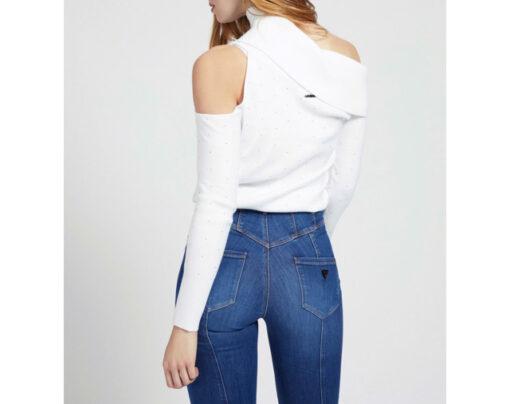 maglione donna GUESS con spalle nude e applicazioni-5