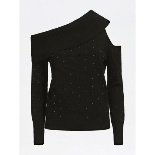 maglione donna GUESS con spalle nude e applicazioni-6