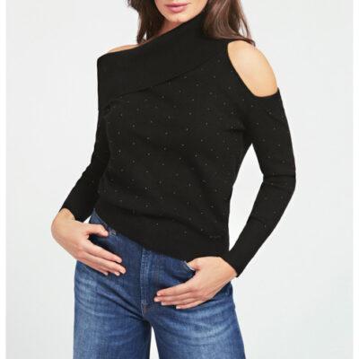 maglione donna GUESS con spalle nude e applicazioni