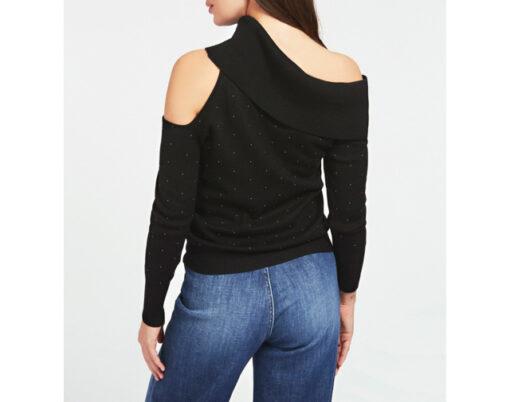 maglione donna GUESS con spalle nude e applicazioni-4