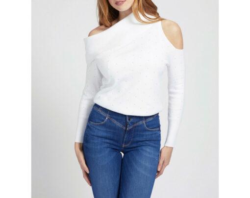 maglione donna GUESS con spalle nude e applicazioni-1