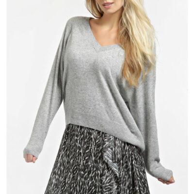 GUESS maglia grigio chiaro a v donna