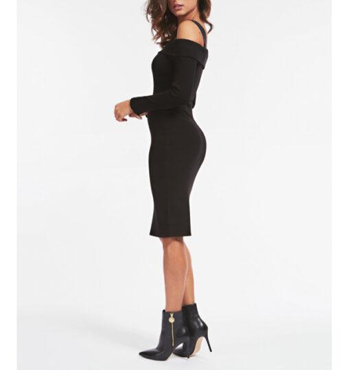 vestito donna nero GUESS a manica lunga-2