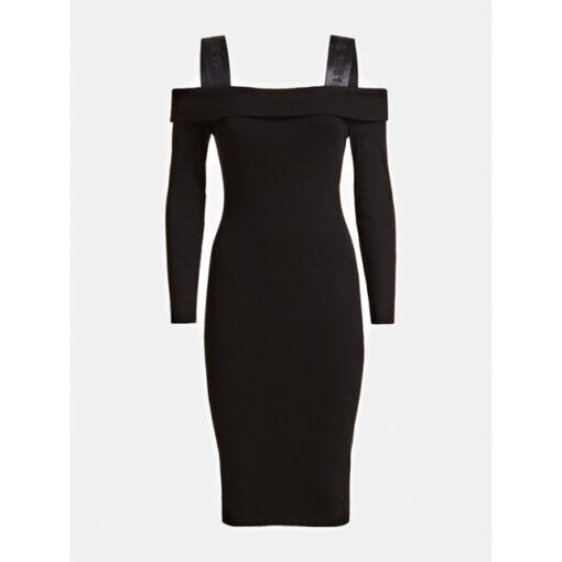 vestito donna nero GUESS a manica lunga-1