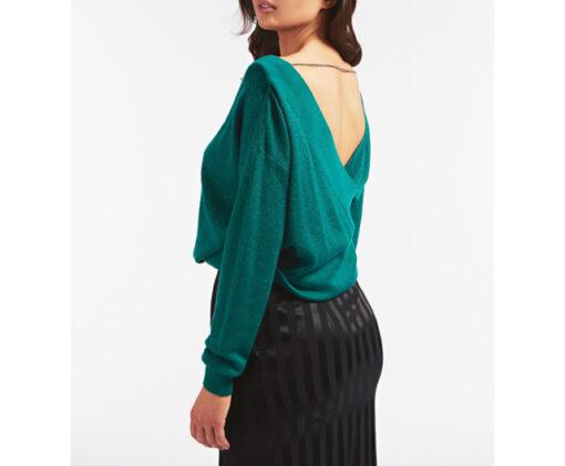 GUESS maglione con ampio scollo a v e catena strass donna-5