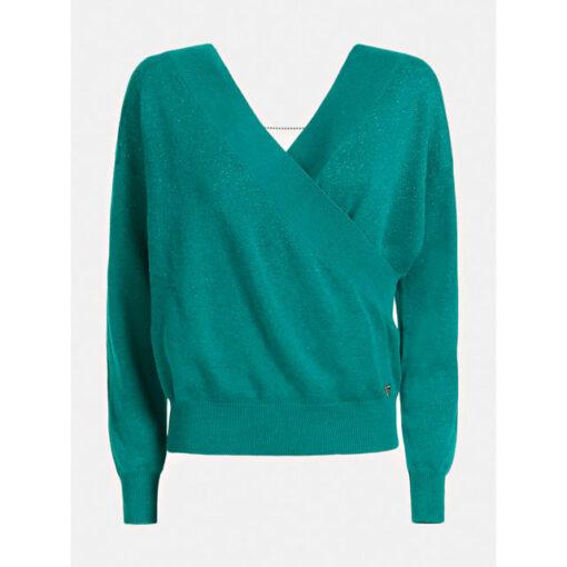 GUESS maglione con ampio scollo a v e catena strass donna-6