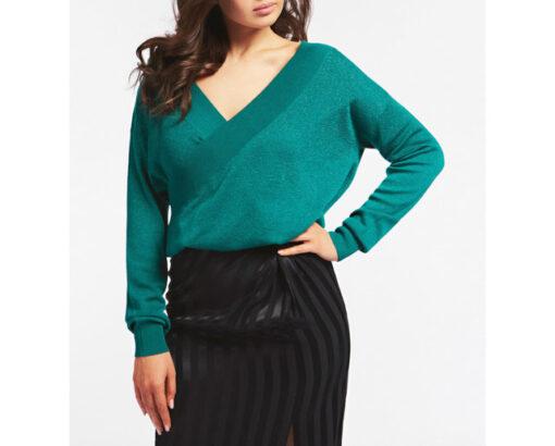 GUESS maglione con ampio scollo a v e catena strass donna-1