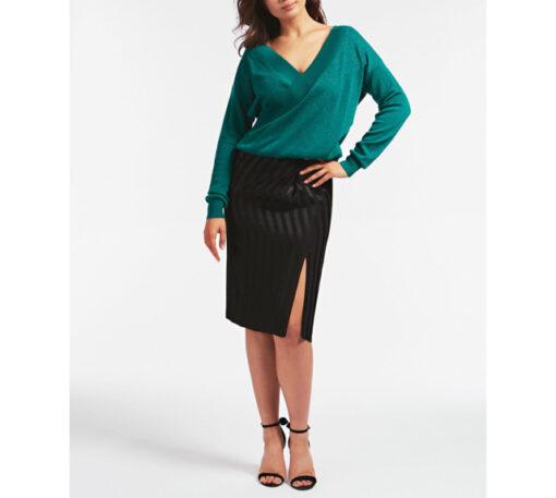 GUESS maglione con ampio scollo a v e catena strass donna-3