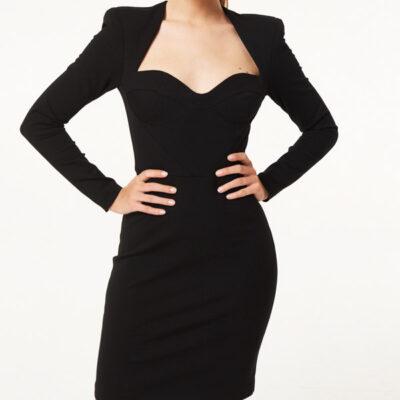vestito Denny Rose nero corto scollato a cuore