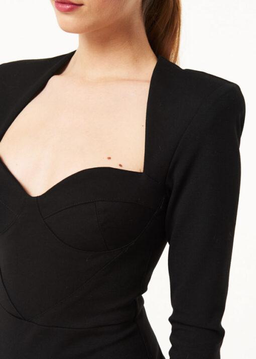 vestito Denny Rose nero corto scollato a cuore-1