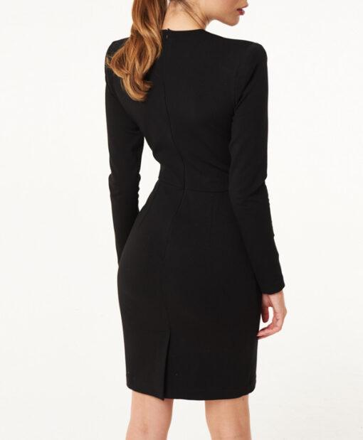 vestito Denny Rose nero corto scollato a cuore-3