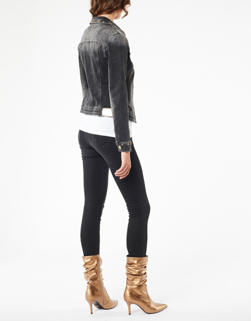 DENNY ROSE giubbotto jeans nero elasticizzato-2