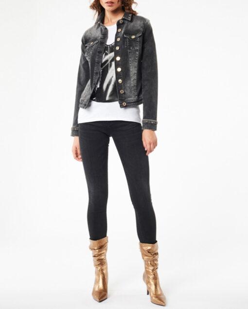 DENNY ROSE giubbotto jeans nero elasticizzato-3