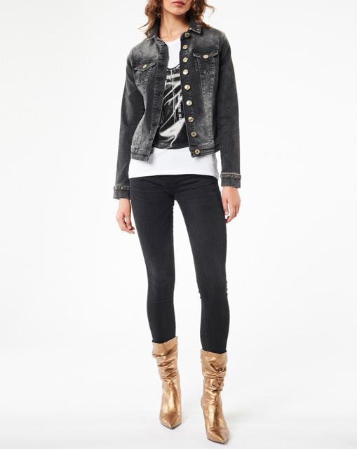 DENNY ROSE giubbotto jeans nero elasticizzato-1