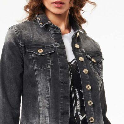 DENNY ROSE giubbotto jeans nero elasticizzato