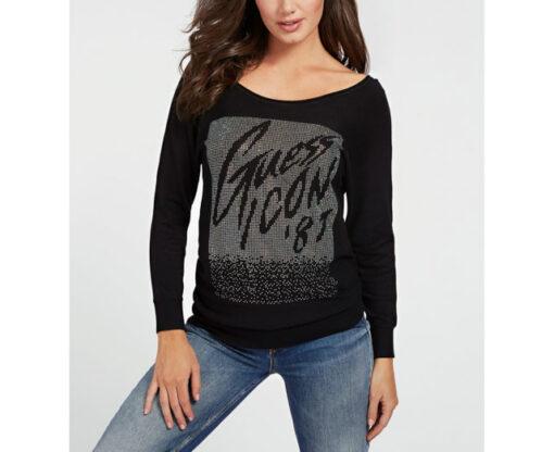 maglia nera con strass GUESS ampio scollo