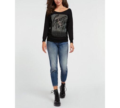 maglia nera con strass GUESS ampio scollo -1