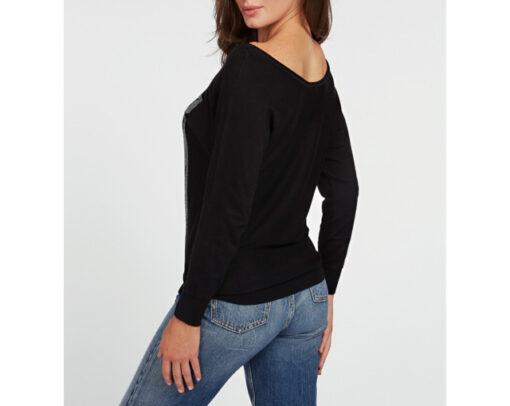 maglia nera con strass GUESS ampio scollo -3