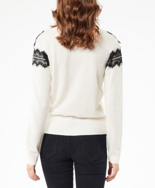 DENNY ROSE maglia bianca con pizzo nero da donna-3