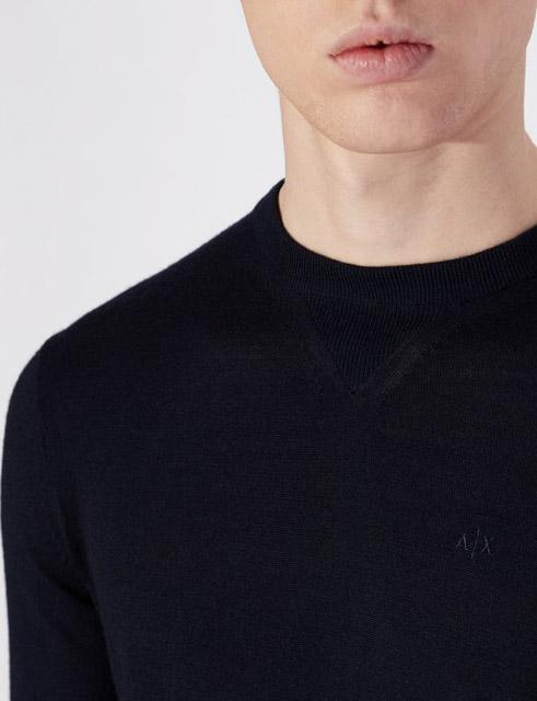 ARMANI EXCHANGE maglia girocollo da uomo in tinta unita-4