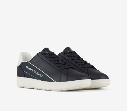 ARMANI EXCHANGE sneakers in pelle in tinta unita blu da uomo-1
