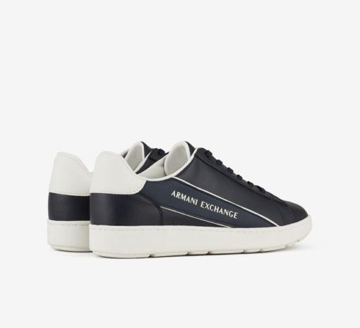 ARMANI EXCHANGE sneakers in pelle in tinta unita blu da uomo-2