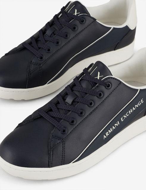 ARMANI EXCHANGE sneakers in pelle in tinta unita blu da uomo-3
