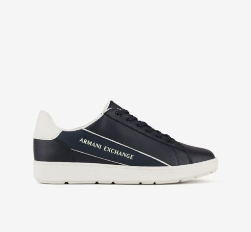 ARMANI EXCHANGE sneakers in pelle in tinta unita blu da uomo