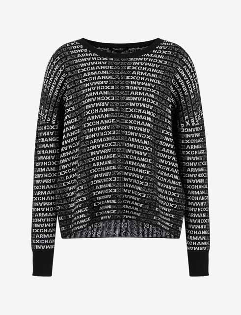 Maglione con logo Armani Exchange all-over da donna -3