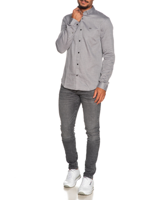 ARMANI EXCHANGE camicia uomo in microfantasia grigia e bianca-3