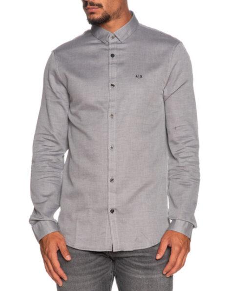 ARMANI EXCHANGE camicia uomo in microfantasia grigia e bianca