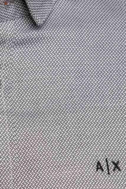 ARMANI EXCHANGE camicia uomo in microfantasia grigia e bianca-1