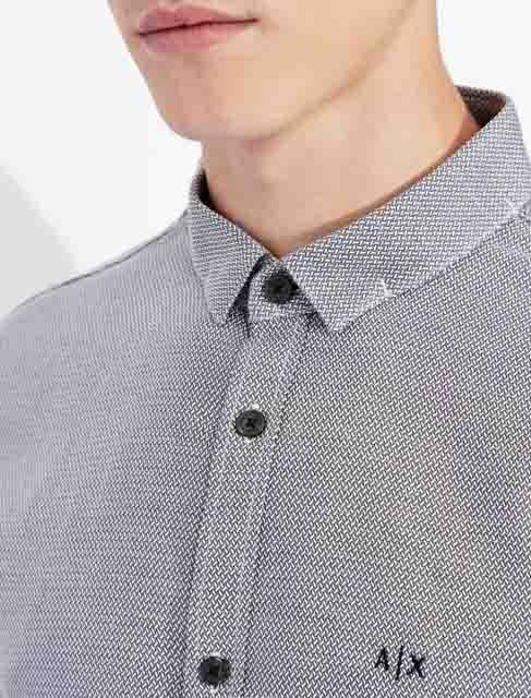 ARMANI EXCHANGE camicia uomo in microfantasia grigia e bianca-4