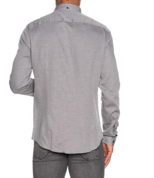 ARMANI EXCHANGE camicia uomo in microfantasia grigia e bianca-5