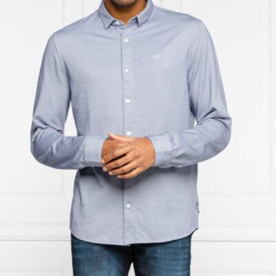 Camicia ARMANI EXCHANGE uomo azzurra con piccola fantasia