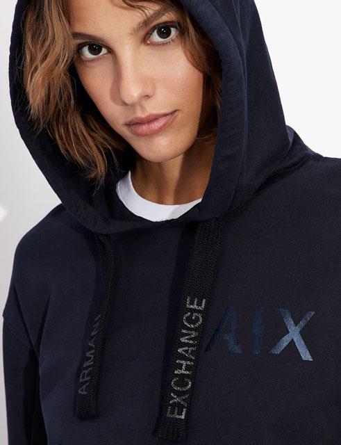 Armani Exchange felpa blu con cappuccio da donna-1