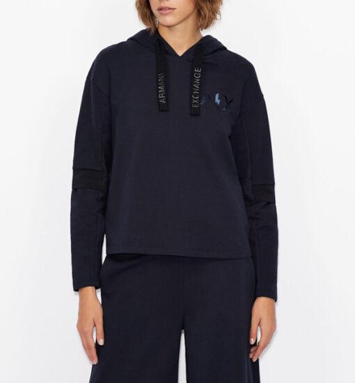 Armani Exchange felpa blu con cappuccio da donna