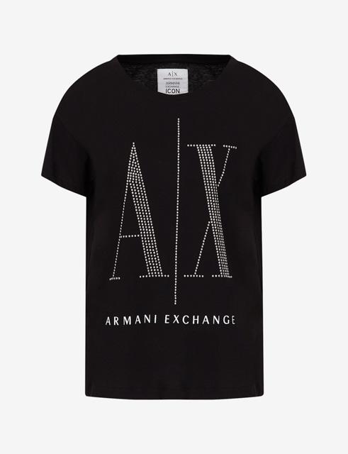 maglietta da donna Armani con logo A|X borchiato-4