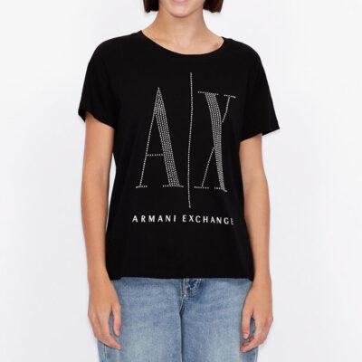 maglietta da donna Armani con logo A|X borchiato