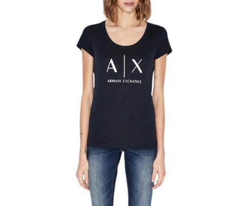 t-shirt blu Armani Exchange logo AX donna-1
