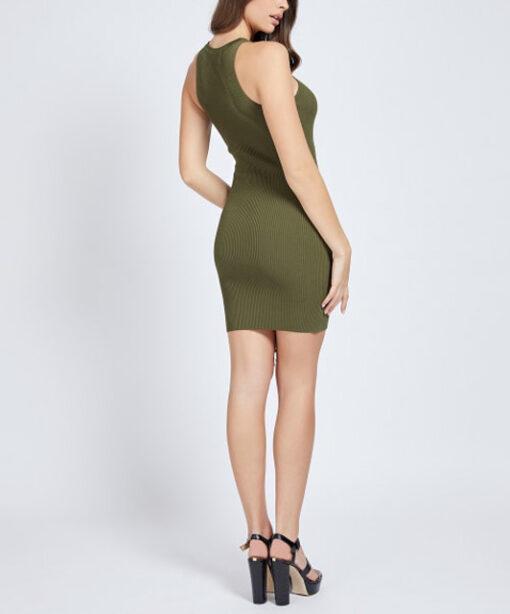 Abito corto verde GUESS donna a costine con lacci-2