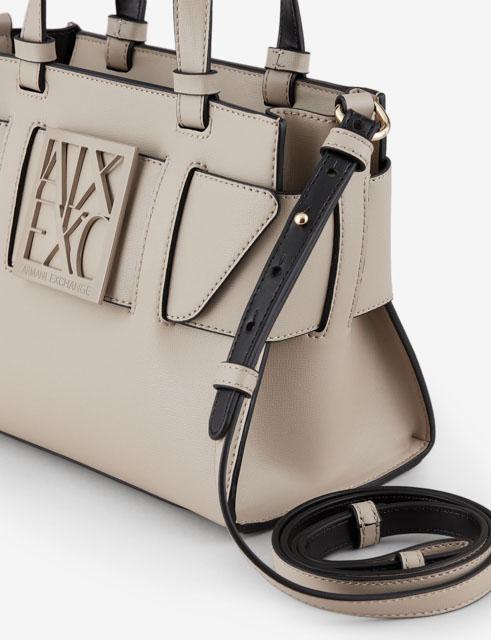 ARMANI EXCHANGE borsa da donna nera a bauletto con zip-4