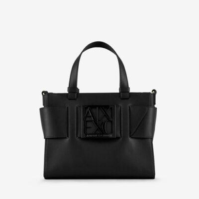 ARMANI EXCHANGE borsa da donna nera a bauletto con zip