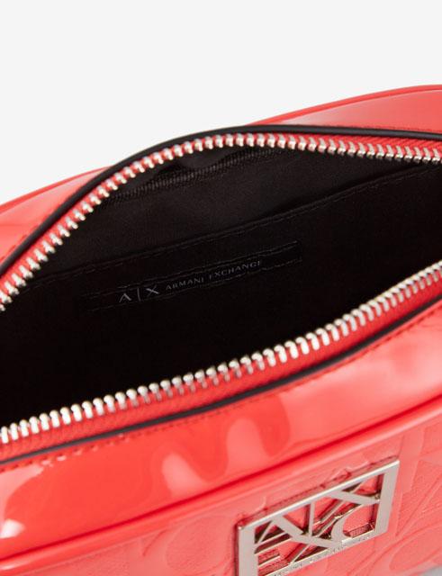 ARMANI EXCHANGE piccola tracolla con zip in vernice logata-6
