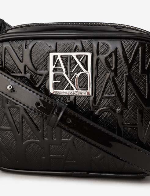 ARMANI EXCHANGE piccola tracolla con zip in vernice logata-5