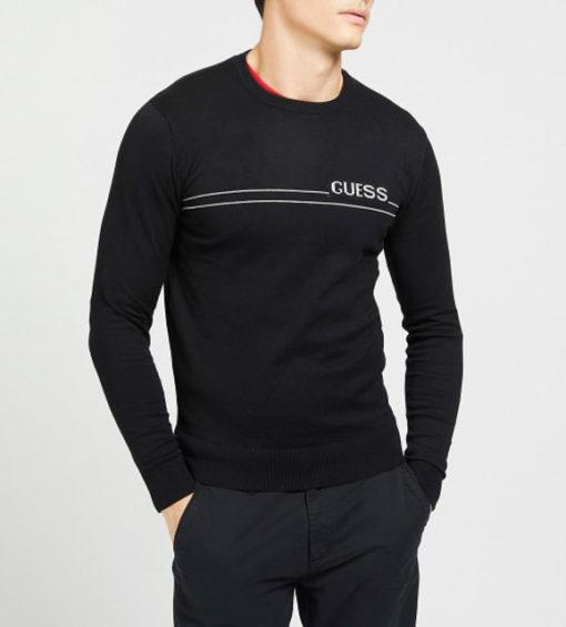 maglione nero GUESS uomo girocollo