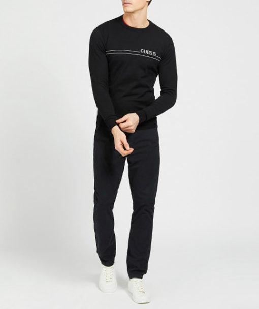 maglione nero GUESS uomo girocollo-2
