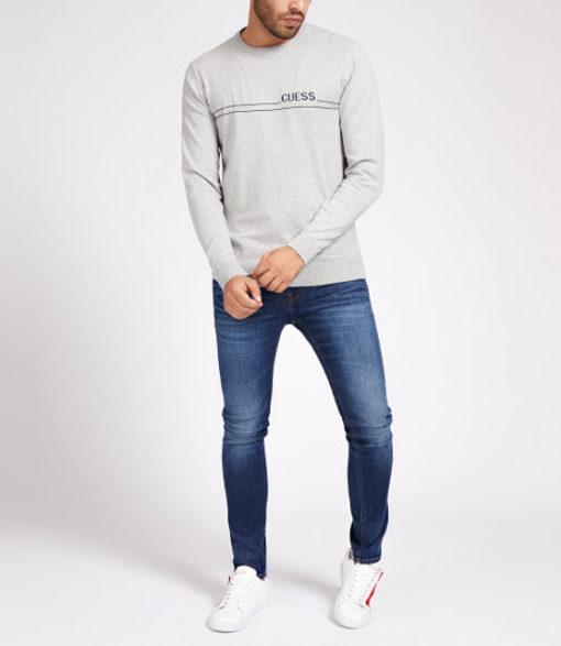 maglione grigio chiaro GUESS girocollo da uomo-3